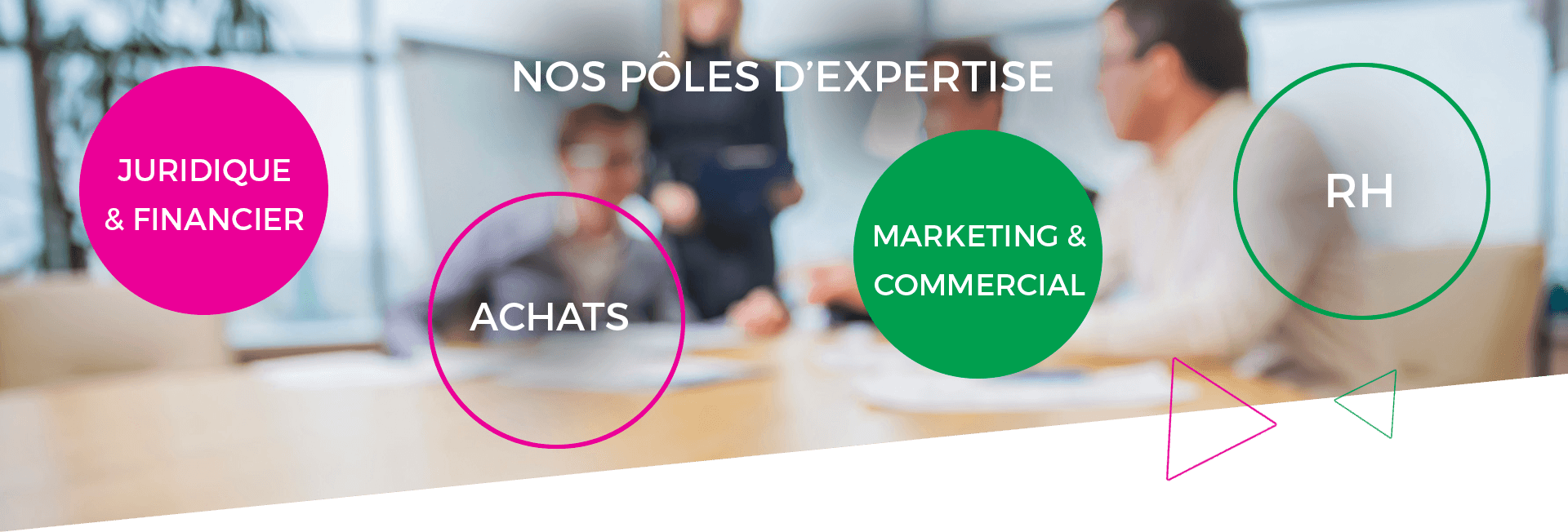 Nos pôles d'expertise : Juridique & Financier, Achats, Marketing & Commercial, RH